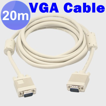6pcs / lots Brand New Video Cable 20m 65FT VGA To VGA Male to Male Monitor Video Extension Cable , Free Shipping By Fedex