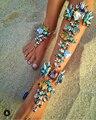 Hot New Fashion 2016 Pulseira de Tornozelo Casamento Barefoot Sandálias de Praia Torta de pé Jóias Sexy Leg Cadeia Boho Feminino Cristal Tornozeleira 00