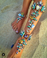Nueva Manera caliente 2016 Pulsera de Tobillo Sandalias Descalzas de La Boda de Playa Boho Joyería Atractiva del Pie de La Pierna Femenina de La Cadena del pie Tobillera Cristal 00