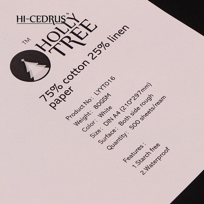 Белый безупречное качество 80 г A4 принтера, канцелярские принадлежности, письмо paper.210 * 297 мм 75% хлопок 25% лен мякотью LYYT016