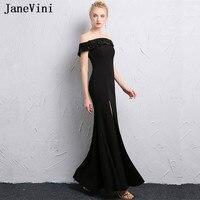 JaneVini Black Mermaid Evening Dress 2018 Mother of Bride Dress Plus Size Lace Appliques Beaded Women Formal Gowns Vestido Longo