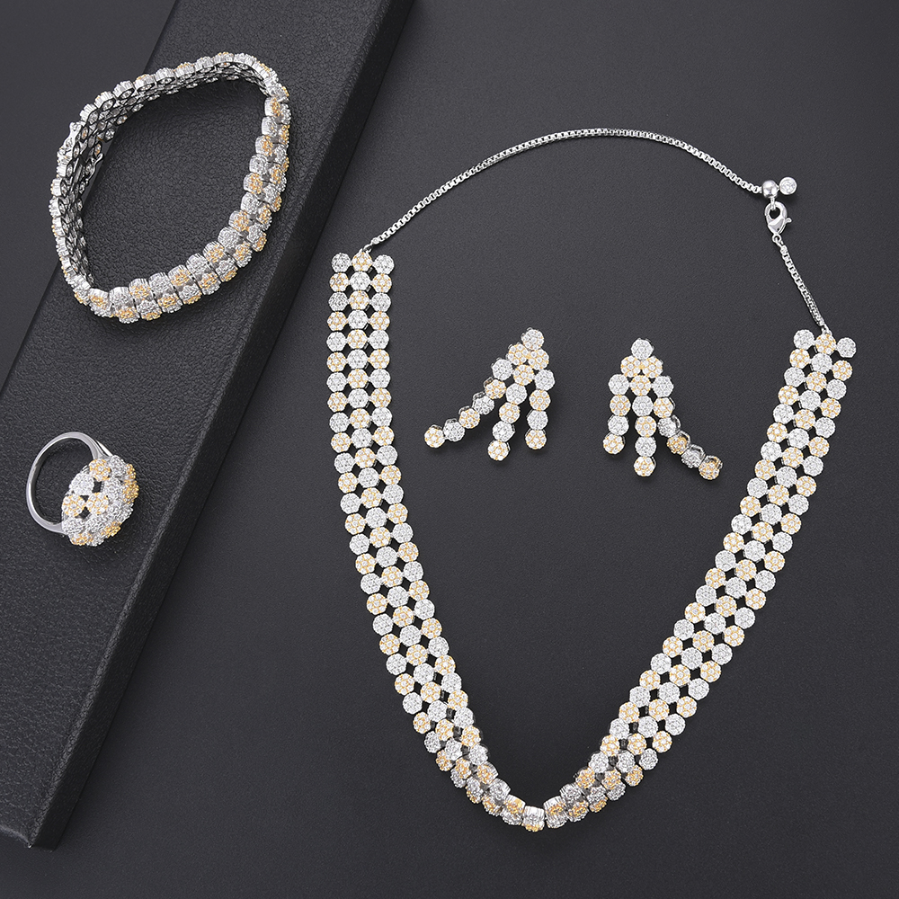 4pcs Luxury Geometric women jewelry set Bicolors Color Cubic Zirconia Necklace Earrings Bracelet Ring female jewelry sets