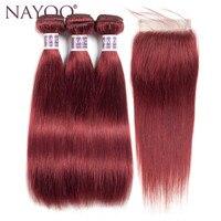 NAYOO מראש בצבע מארג אנושי שיער ברזילאי צבע 3 חבילות עם סגירה #33 גל ישר ברזילאי חבילות עם סגירה