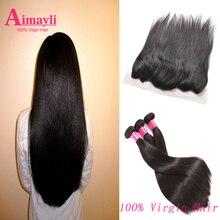 Brazilian Virgin Hair with Closure Rosa Brazilian Straight Hair lace frontal closure with bundles Straight Hair Human Hair weave