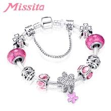 MISSITA Flower Series Momoiro Clover Bracelet with Pink Murano Beads Brand for Women Anniversary Gift