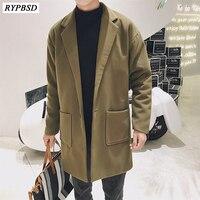 Loose Casual Wool Blend Mens Coat Korean Style Solid Color Man Autumn Winter Warm Jacket Pockets Korean Male Fashion Coat