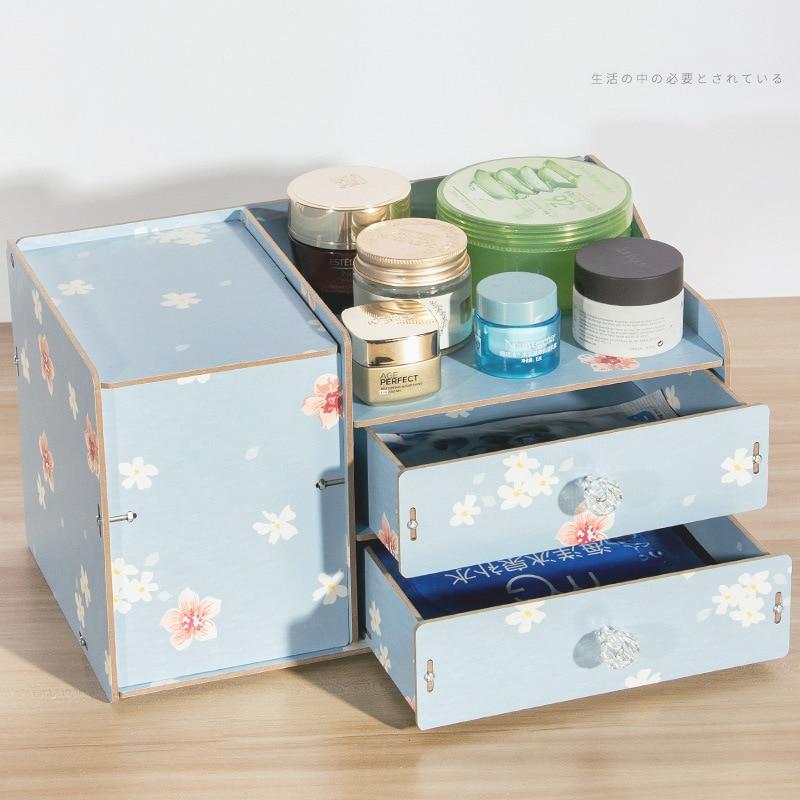 Bricolage en bois boîte de rangement maquillage organisateur bijoux conteneur bois tiroir à la main cosmétique
