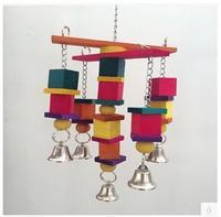 Color magnífico diseño de múltiples capas de suministros loro juguete del chew madera oscilaciones de campana escalada escalera con envío gratis