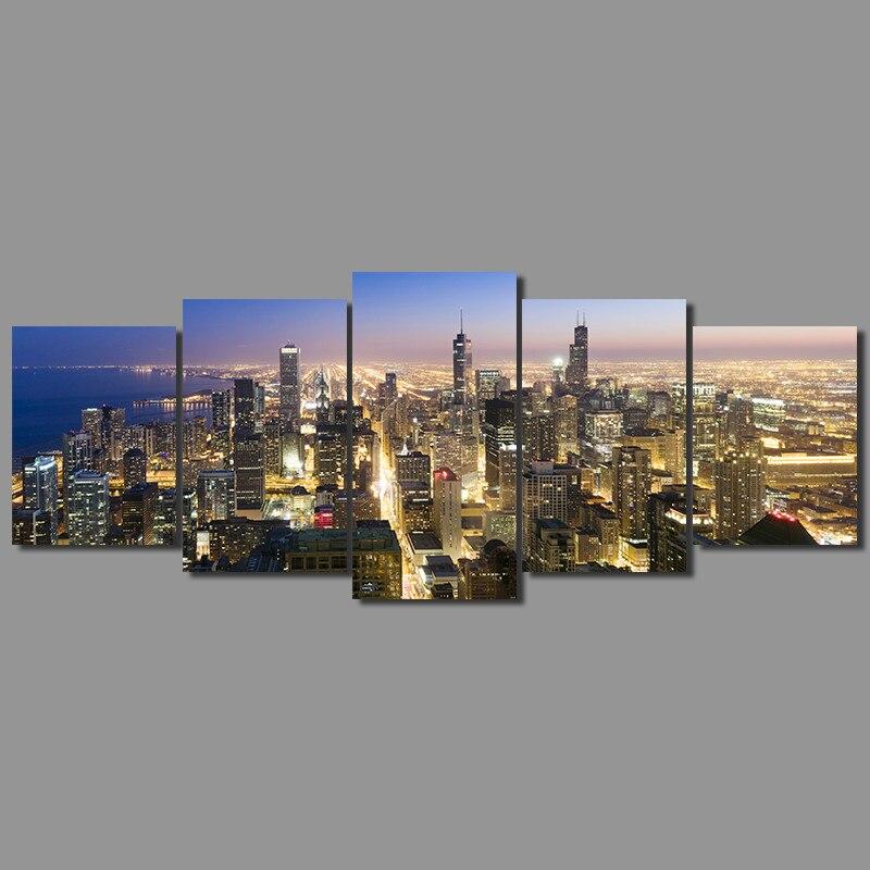 Moderne Stadt New York Chicago 5 Teile Satz Dekoration Wandkunst Bilder Landschaft Nachtansicht Leinwand Malerei
