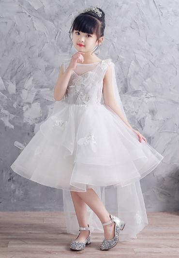 2018 High Quality Handmade white Flower Girl Tutu Dress Wedding Tulle Dress Wedding Dresses Demoiselle D'honneur evenning dress