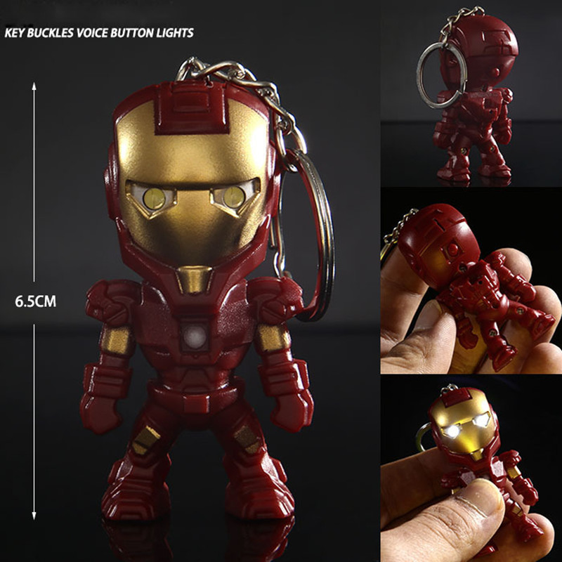 Classic Iron Man Pendant Keychain The Avengers Alliance LED Keychain Mini PVC Action Figure With LED Light & Sound Keyring ZKAM