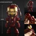 Classic Iron Man Pendant Keychain The avengers alliance LED keychain Mini PVC Action Figure with LED Light & Sound keyring ZKAM