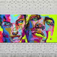 Palette knife portrait Face Oil painting Character figure canva Hand painted Francoise Nielly wall Art picture for living room54