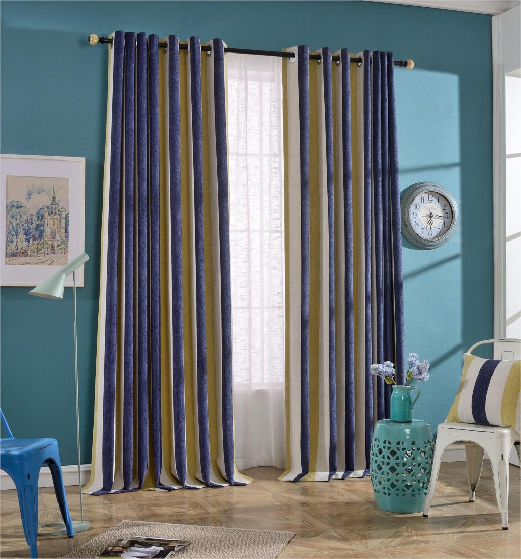 Us 19 59 33 Off Voile Sheer Curtains With Yellow Blue White Striped Pattern Bedroom Kitchen Living Room Home Decor Curtain In Curtains From Home