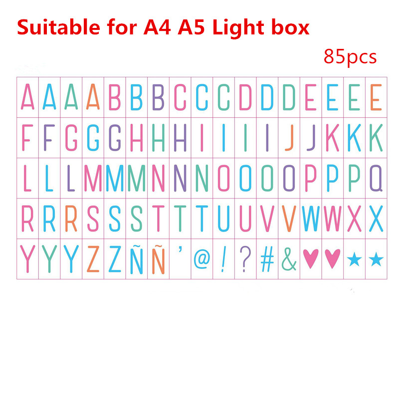 LED Night Lamp Cinema Lightbox 85PCS Colorful Letters Signs Symbols & Glyphs Cards for A4 A5 Size Birthday Christmas Party Decor