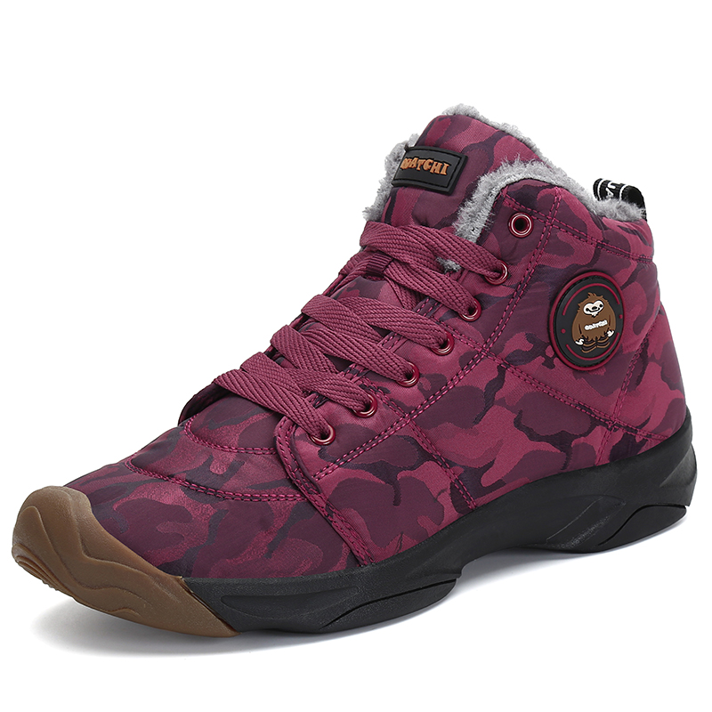 Mode Chaussures Antidérapant Mujer Botas Peluche Femmes Femme Noir Neige rouge Hiver Cheville Plat Bottes Coton Chaudes Imperméable En Pour De 5rqw5FS