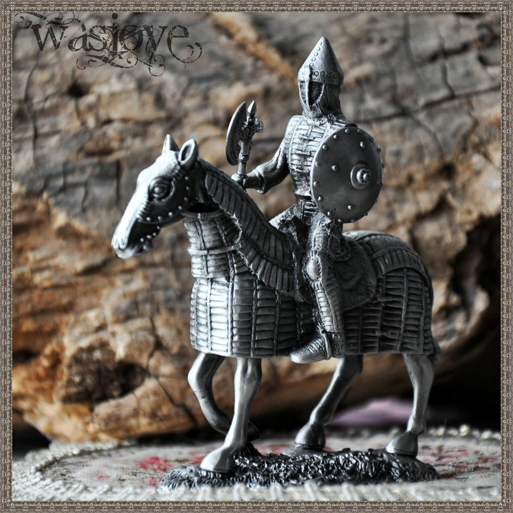 NEW Classical European Tin Warrior Soldier on Horseback Gift Ornaments Home Club Table Decoration