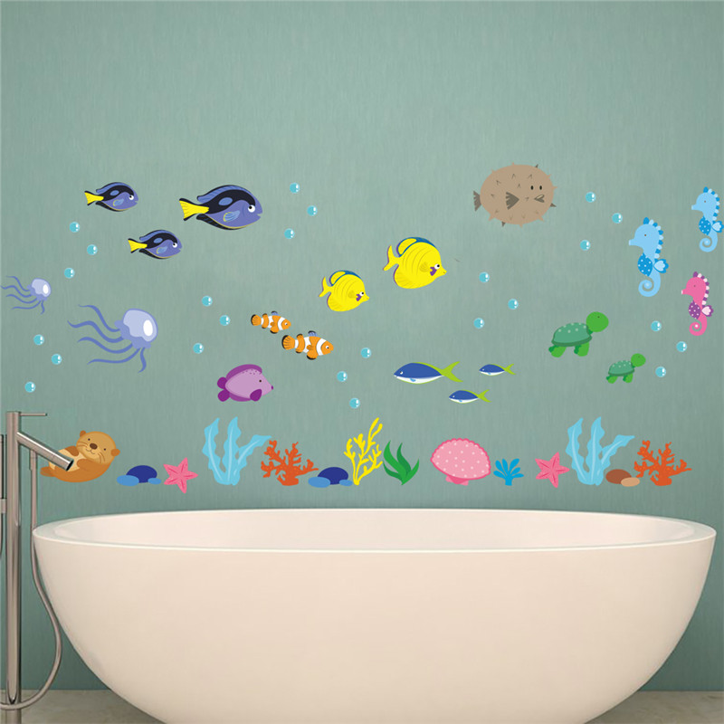 Underwater Fish Bubbles Wall Stickers For Bathroom Kids Play Room Home Decor