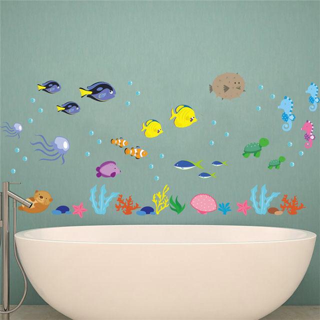 Online Shop % PVC Onderwater Zee Vis Muurstickers badkamer Wc ...