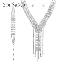SOLEMEMO 3PCS Luxury Rhinestone Jewelry Set for Women Crystal Statement Necklace Charm Bracelet and Earrings Sets Silver N5866
