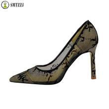 Luxury silver black elegant retro Style women High Heels Pumps Shoes New Lace Embroider Mesh 8 cm Pump For Ladies 2019