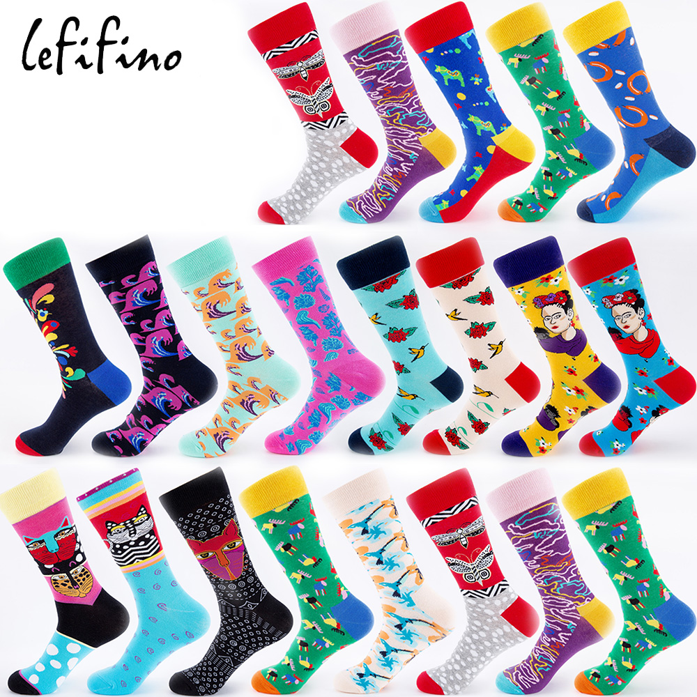 Men Socks Cotton Colorful Happy Life Unisex Socks Long Winter Warm Funny Novelty