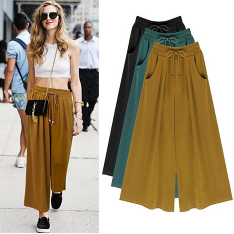 2019 Woman   Wide     Leg     Pants   Loose Drawstring Casual Ankle-Length Pockets Female Trousers Summer Hipster Harem   Pants   Ladies Plus