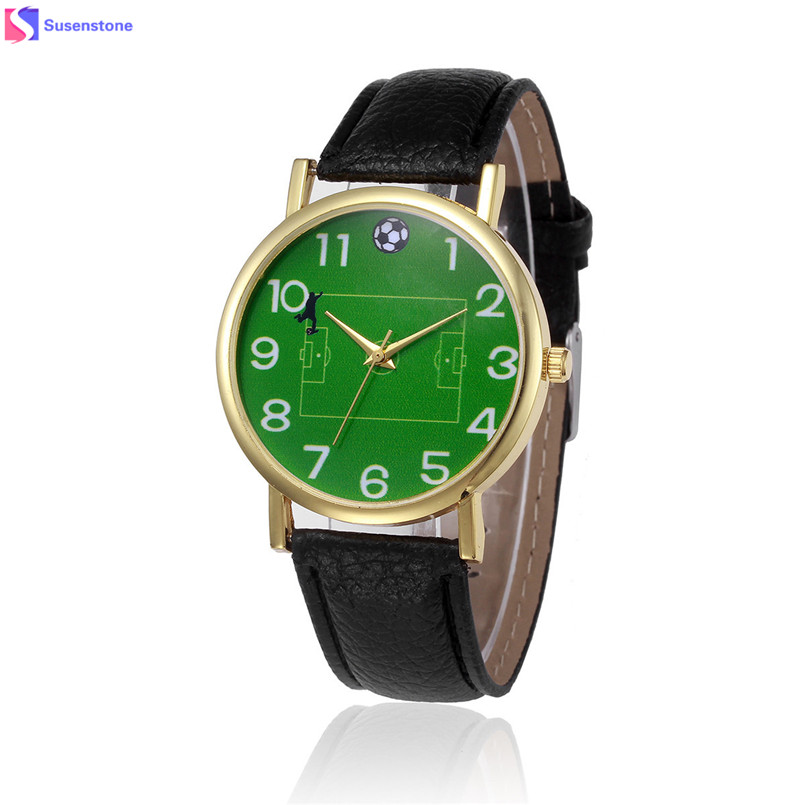 New Football Pattern Men Women Watches Fashion Leather Band Analog Alloy Quartz Wrist Watch Clock Relogio Feminino Reloj new fashion women retro digital dial leather band quartz analog wrist watch watches wholesale 7055