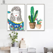 Modern Wall Paintings Girl Hide Her Eyes Tropical Plants Cactus Art On Canvas Posters Prints For Home Living Room Decor