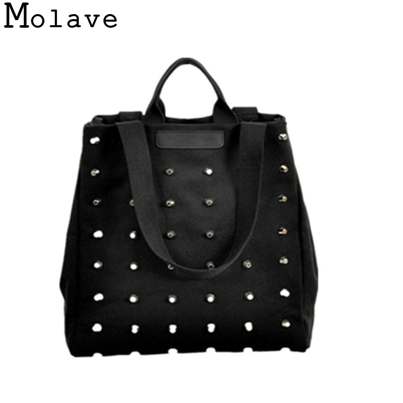 Rivet Retro Canvas Handbag Girls Elegant Portable Shoulder Bag Function Bag Totes Mar2