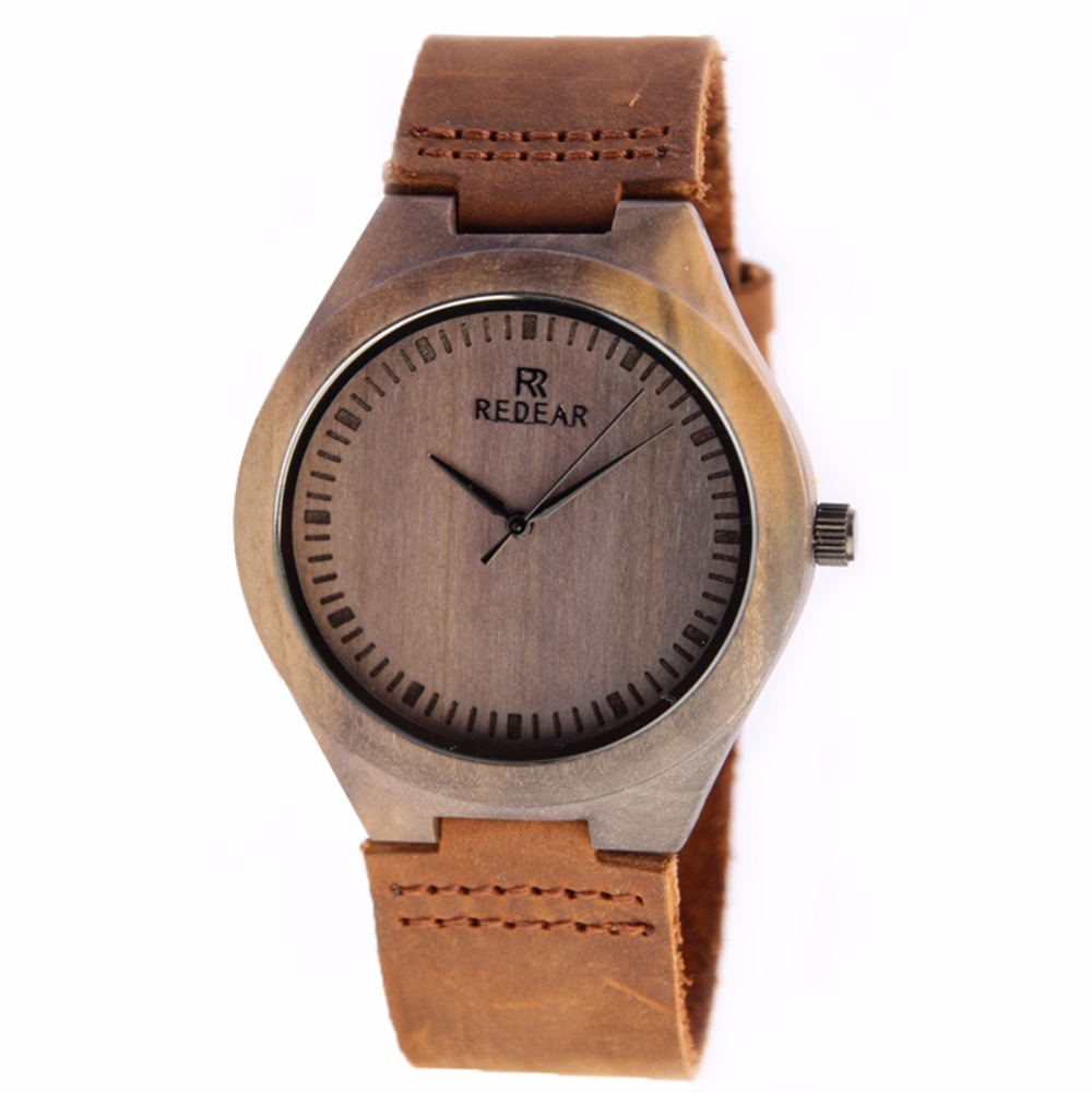 ФОТО REDEAR Handmade Wooden Wristwatch Men's Natural Olive Wood Watches Quartz Casual Watches Circular Wooden Quartz Movement