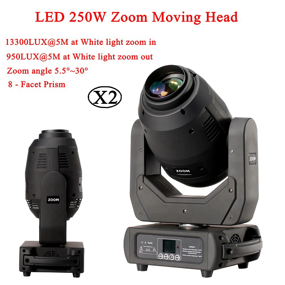2Pcs/Lot Stage Lighting LED 250W Zoom Moving Head 3IN1 Beam Spot Wash Light 16/18 DMX Channels Disco DJ Sound Party Lights