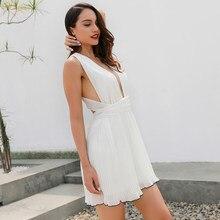 546e899f77 Nuevo verano dulce vestido plisado mujeres pura Amarillo Blanco verde  imperio drapeado v-cuello corto vestido mini vestidos de l.