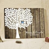 Rustic Wedding Guest Book Signature Fingerprint Tree Wood Framed Vintage Engagement Keepsake Customized Name & Date Family Tree