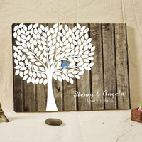 Rustic Wedding Guest Book Signature Fingerprint Tree Wood Framed Vintage Engagement Keepsake Customized Name & Date Family Tree