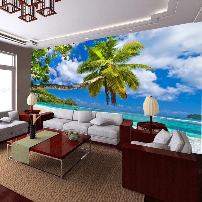 Buy 3d ocean mural wallpaper living room for Beach mural for wall