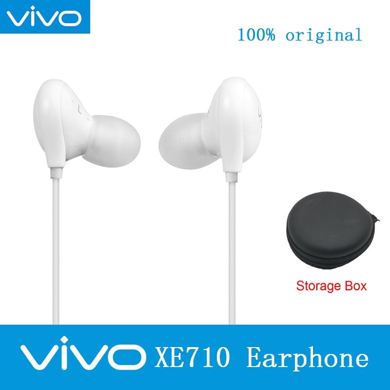 Original VIVO XE710 Headsets Storage Box Hi-Fi sound with 3.5mm Plug Wire Controller earphone for VIVO X9plus X20 X21 X23 Nex