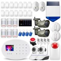 FUERS W20 Wireless Touch Panel WiFi GSM Home Security Burglar Alarm System DIY APP RFID Card Wifi IP Camera Smart Socket Siren