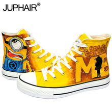 JUP Women's Girl  Boy's Despicable Me Minion Spider Clip Superman Little Girl Princess Castle High Top Hand painted canvas footwear