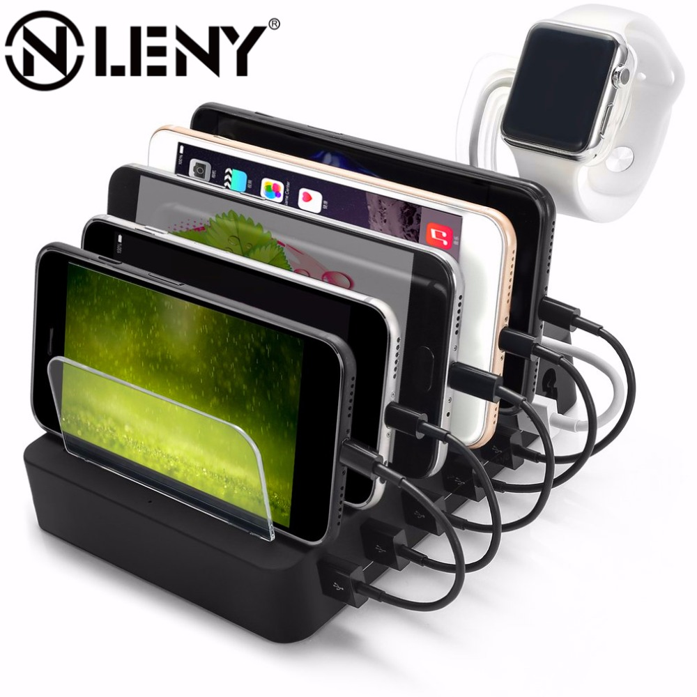 Onleny 6 Ports Charging Hub Multiple USB Charger Desktop Charging Dock For Tablet PC Smart Phone With Watch Bracket Stand Holder otg charging dock for samsung smart phone white