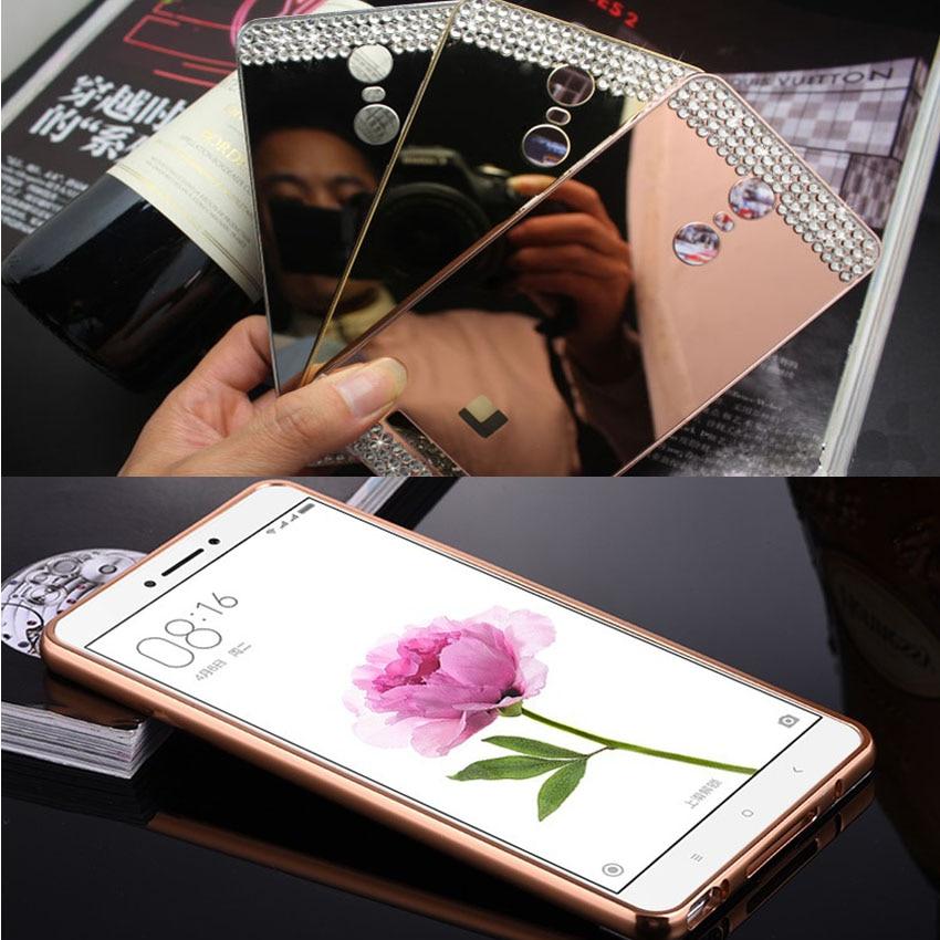 DIY Handmade Diamond Crystal Case Metal Frame Mirror Cover For Xiaomi Mi 4 4S 5 Hongmi Pro Redmi Note 2 3 Phone Capa