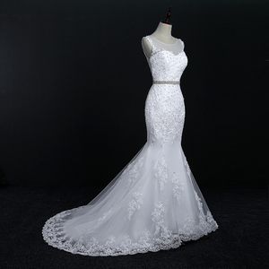 Image 4 - Fansmile Neue Vestido De Noiva Weiß Spitze Meerjungfrau Hochzeit Kleid 2020 Zug Plus Größe Angepasst Hochzeit Kleid Braut Kleid FSM 580M