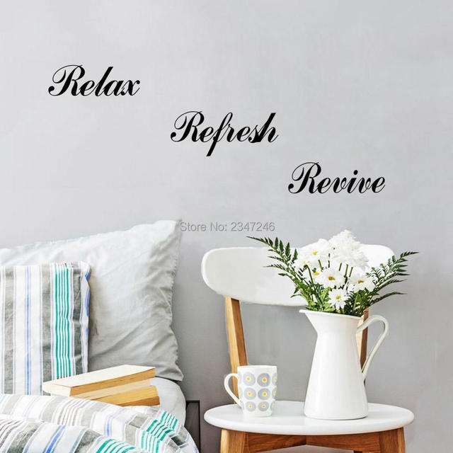 Diy encouragement quotes wall decal relax refresh revive vinyl sticker for home decor