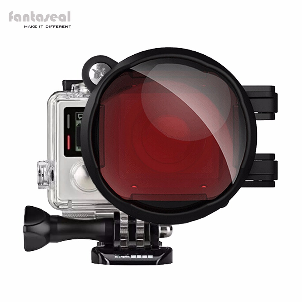 Fantaseal  2-in-1 Dive/Diving GoPro Lens, Red Filter + 16X Macro Lens w/Anti-Slip Lock for Hero 4 /3+ for Blue/Tropical Water justone j049 professional underwater dive filter converter for gopro hero 4 3 black red