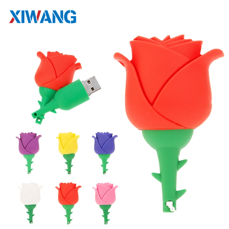 Romantic red rose USB 2.0 Flash Drive 64GB 32GB 16GB 8GB 4GB pen drive pendrive cartoon flower Memory Stick u disk Couple gift-in USB Flash Drives from Computer & Office