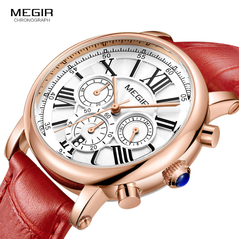 Megir 24 Hours Display Chronograph Analogue Quartz Watch For Lady Girl Women's Fashion Waterproof Red Leather Strap Wristwatch