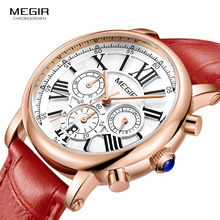 Megir 24 Hours Display Chronograph Analogue Quartz Watch for Lady Girl Women's Fashion Waterproof Red Leather Strap Wristwatch blacktip shark sport watch brand chronograph 24 hours display leather band 3 atm water resistance quartz mens wristwatch sh213