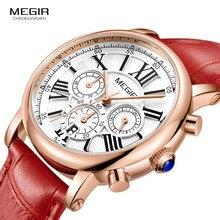 Megir 24 wyświetlacz godzin chronograf analogowy zegarek kwarcowy dla Lady Girl moda damska wodoodporna czerwona skóra zegarek na rękę z paskiem, bransoletą