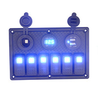 AUTO 6 Gang 18 CM Waterproof Marine Blue Led Switch Panel With Power Socket Circuit Breakers