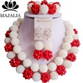 Fashion Nigeria Wedding white african beads jewelry set Crystal Plastic pearl necklace Bridal Jewelry Sets Free shipping VV-087
